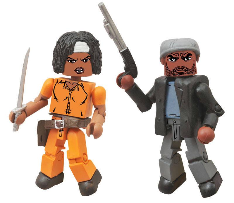 """Walking Dead Minimates série 5 /""""Tyreese et Prison Michonne/"""" 2-PACK AF Diamond"""